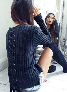 Solid Long Sleeve Back Lace up Sweater