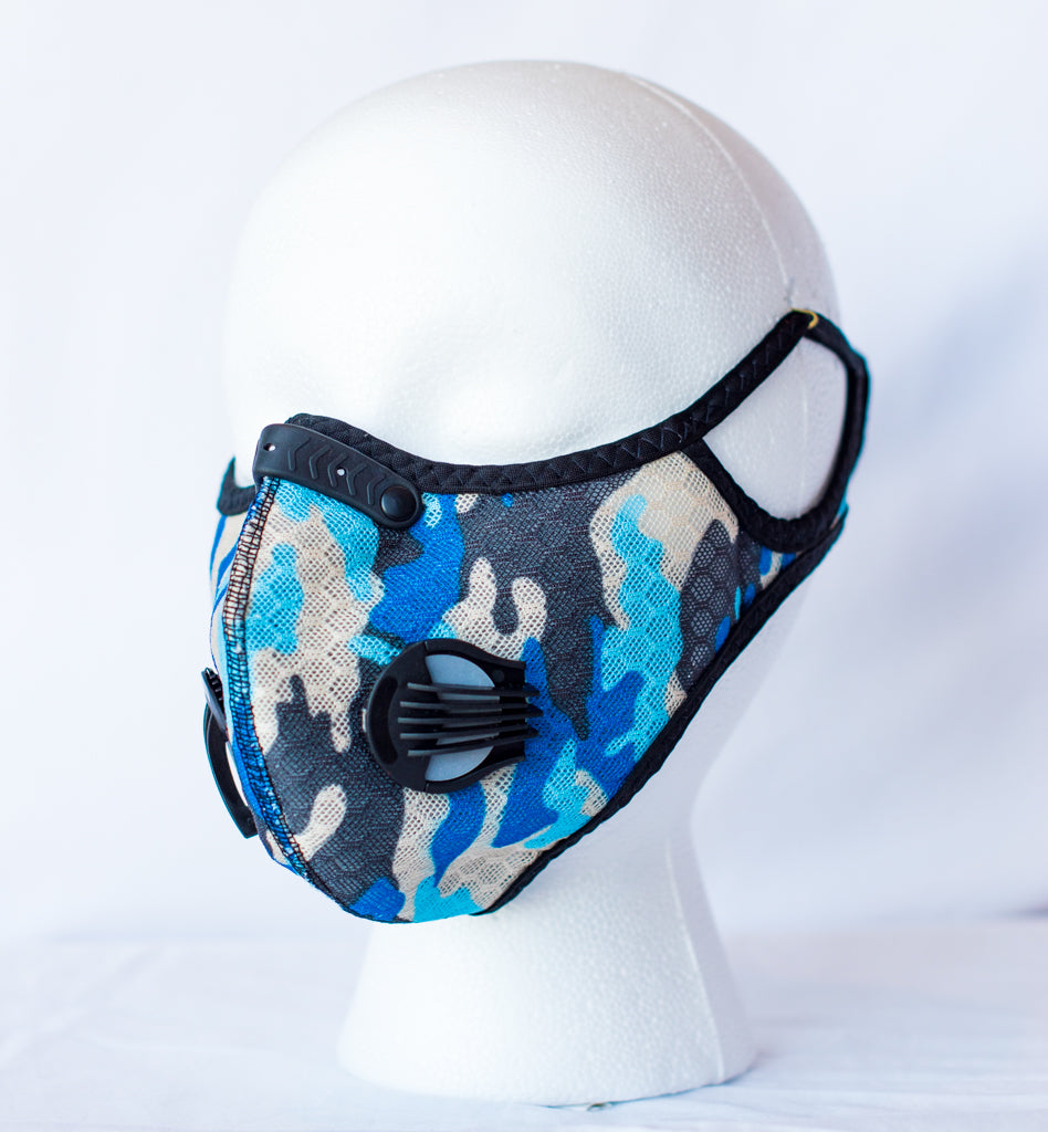Blue-Camo Reusable Sport Mask