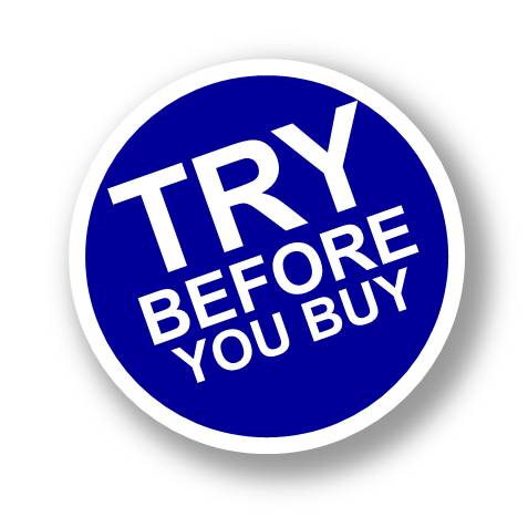 Try before you buy sign