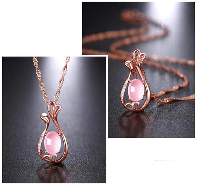 The Galatea Necklace - A lovely delicate pink opal pendant studded with crystals.