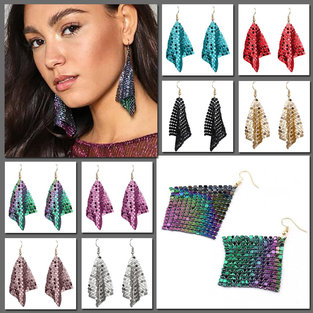Large drape billowing earrings that look like chainmail or scales in many bright colours.