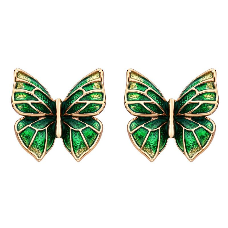 Green and gold enamel earrings with a butterfly motif.