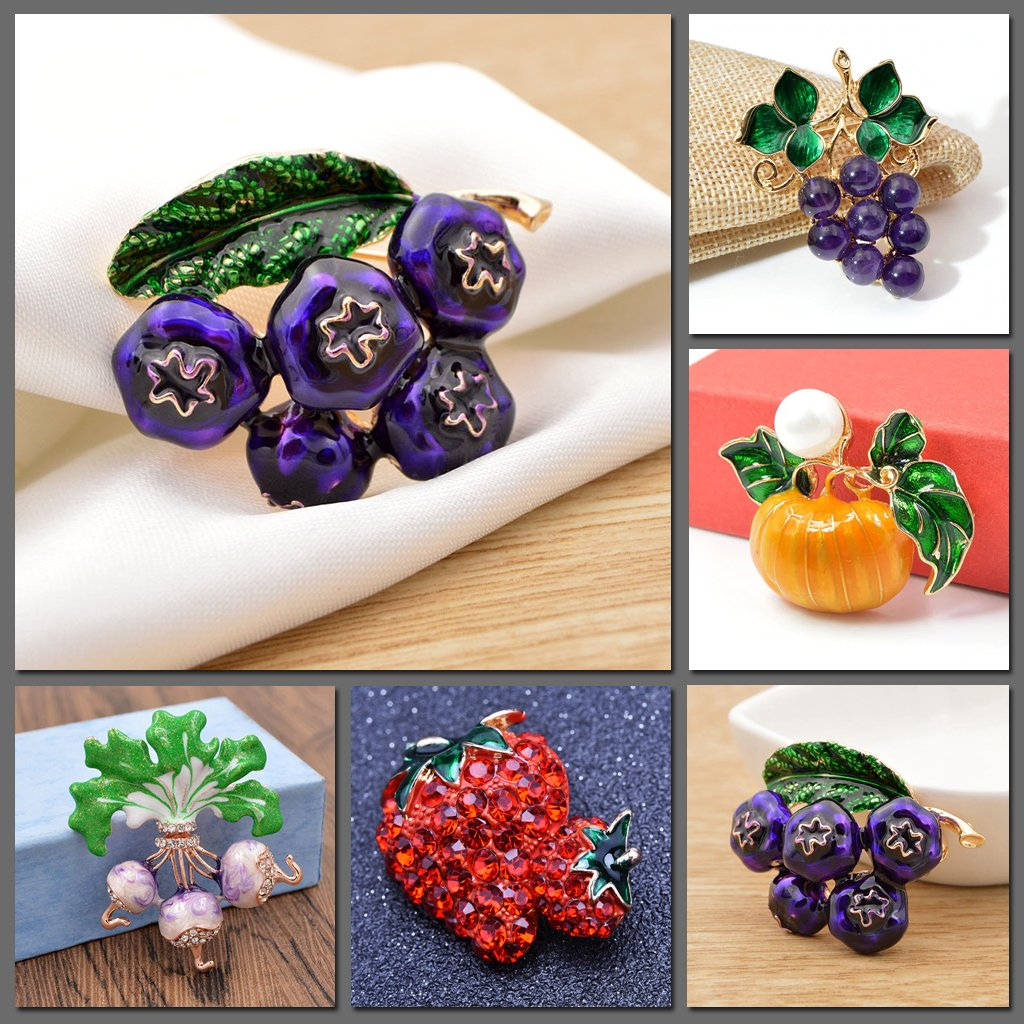 The Grocer's Brooches - A set of fruit & vege themed brooches in an assortment if vibrant, delicious colours and designs.