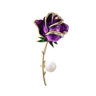 The Florist's Brooch - Long-Stem Rose II - A lovely large rose brooch available in blue, purple, red, or yellow.
