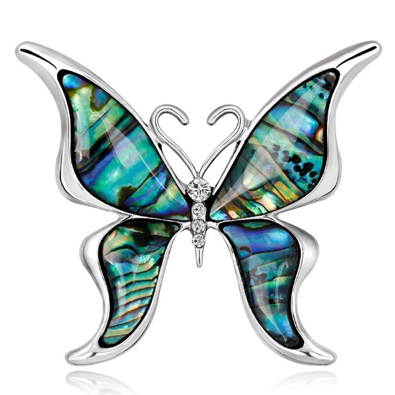 Wings Of Sky & Sea Brooch - A lovely silver-toned brooch with abalone/paua shell wings.