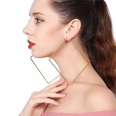 Carmen Oversized Square Hoop Earrings - Huge thin metal square earrings available in gold or silver toned zinc alloy.