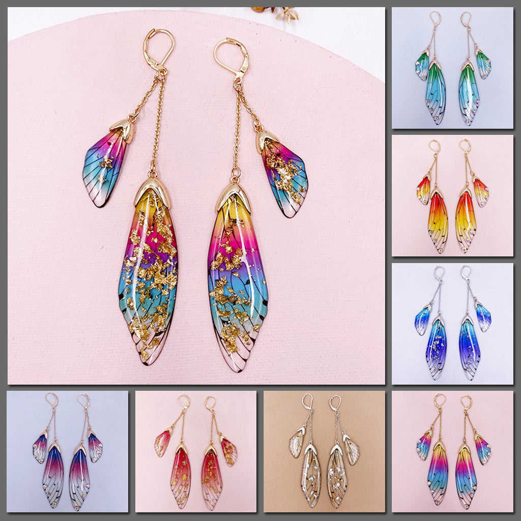 The Niamh Fairy Wing Earrings - Beautiful multi-level earrings crafted from resin to resemble the wings of fairies. This image shows all seven colours.