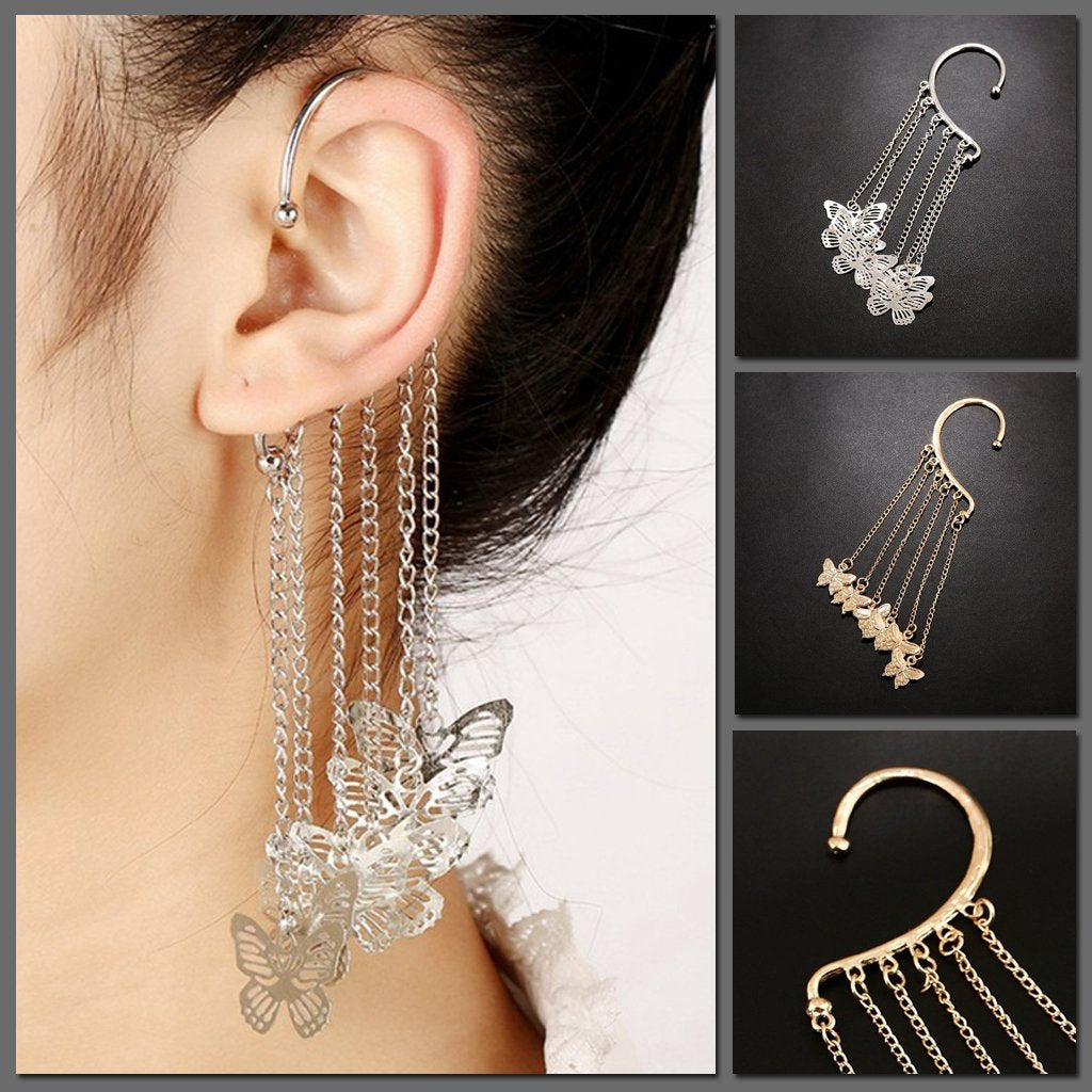 The Dana Butterfly Ear Cuff - A single-ear earring decorated with chained butterflies.