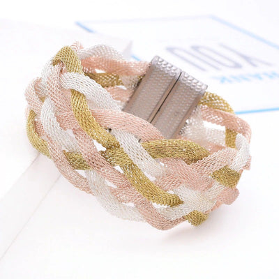 Elektra's Embrace Magnetic Clasp Bracelet - 7 Strand Mesh Braid - A beautiful bracelet made up of multiple metal stands connected by a strong magnetic clasp.