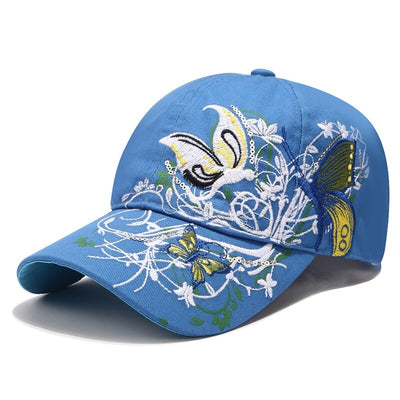 Butterfly Keeper Baseball Cap - An adorable adult baseball cap with a cute butterfly print, available in black, blue, pink, and white.