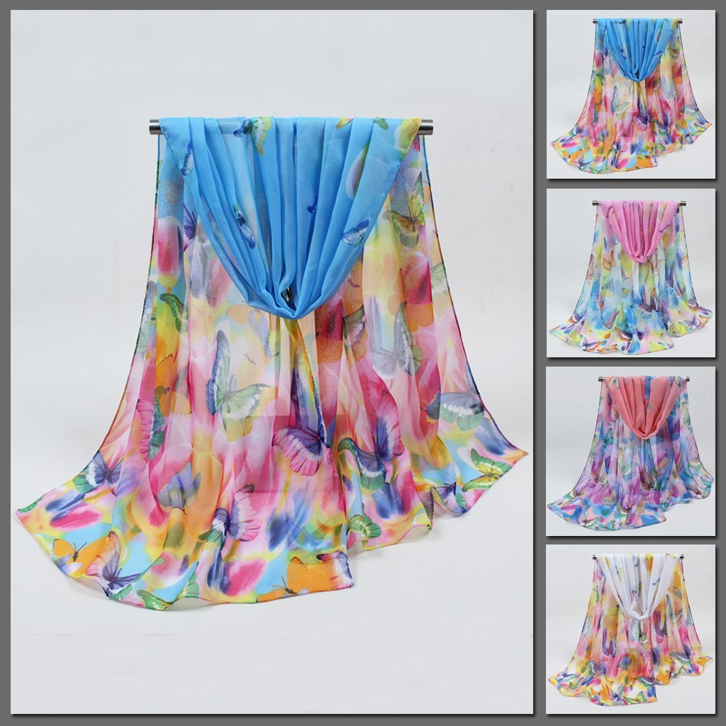 Beautiful chiffon scarves with butterfly designs in a variety of vibrant colours.