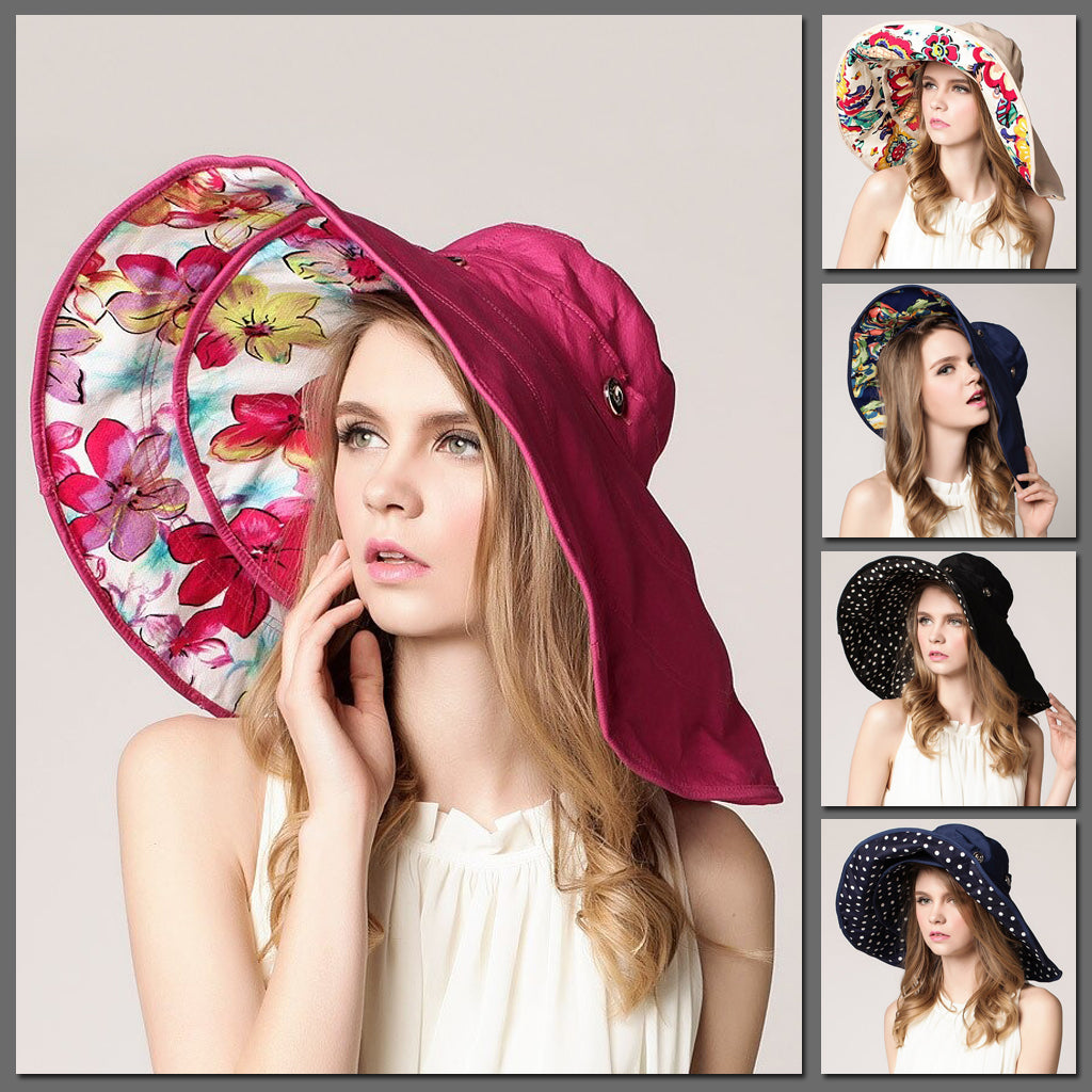 The Gorgeous Gemini 2-in-1 Sunhat - A large-brimmed sunhat available in an assortment of lovely colours.