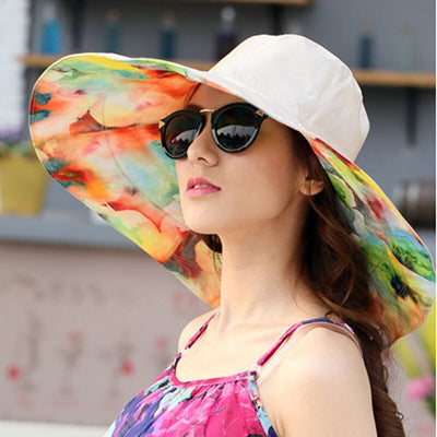 Pretty Painter Reversible Sunhat - A beautiful large brimmed hat that looks like it has been painted with watercolour paints.