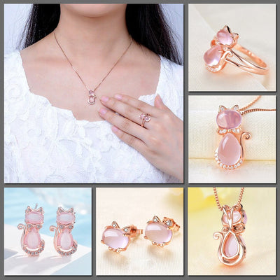 The Bastet Set - An adorable rose quartz/pink opal cat themed jewellery set.