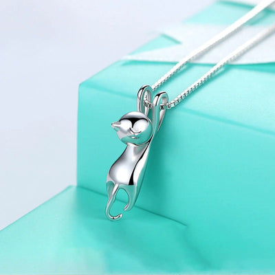 "Hang In There Set - A simple sterling silver cat themed jewellery set themed after the classic ""Hang In There"" kitty posters common to offices the world over."