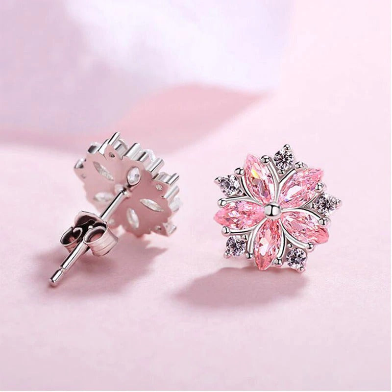 Asuka Cherry Blossom Stud Earrings - Small, delicate crystal earrings shaped like little flowers. Available in pink or white.