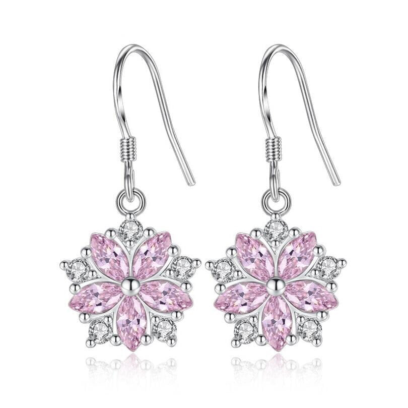Asuka Cherry Blossom French Hook Earrings - Small, delicate crystal earrings shaped like little flowers.