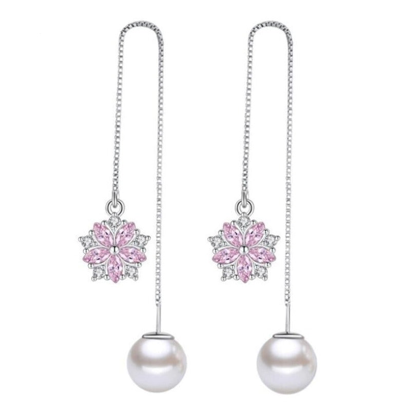 Asuka Cherry Blossom Stud Earrings - Small, delicate crystal earrings shaped like little flowers.