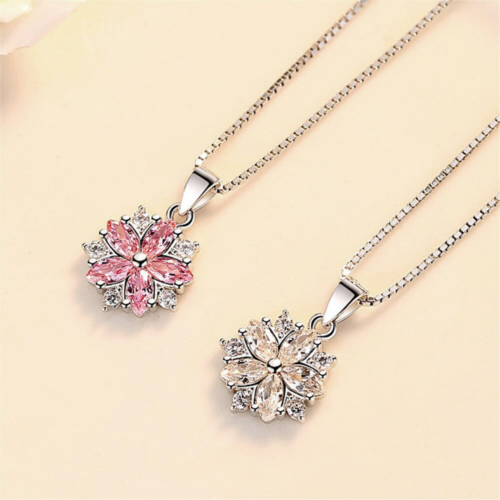 Asuka Cherry Blossom Necklace - Small, delicate crystal earrings shaped like little flowers.