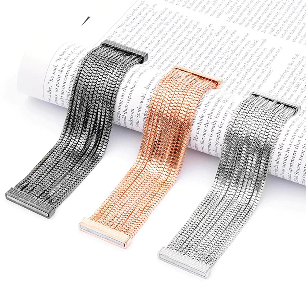 Elektra's Embrace Magnetic Clasp Bracelet - 12 Strand Box Chain - A beautiful bracelet made up of multiple metal stands connected by a strong magnetic clasp.