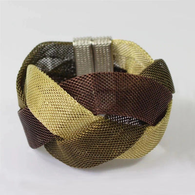 Elektra's Embrace Magnetic Clasp Bracelet - 3 Strand Braided Mesh Tube - A beautiful bracelet made up of multiple metal stands connected by a strong magnetic clasp.