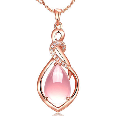 The Cassandra Necklace - A lovely delicate pink opal pendant studded with crystals.
