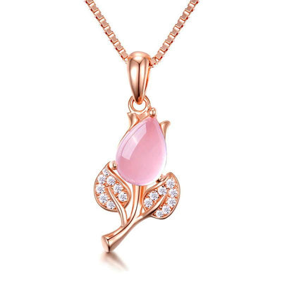 The Thumbelina Necklace - A lovely delicate pink opal pendant studded with crystals.