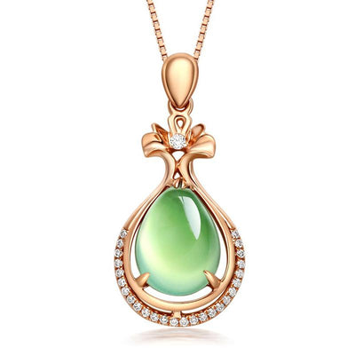 The Pythia Necklace - A lovely delicate green opal pendant studded with crystals.
