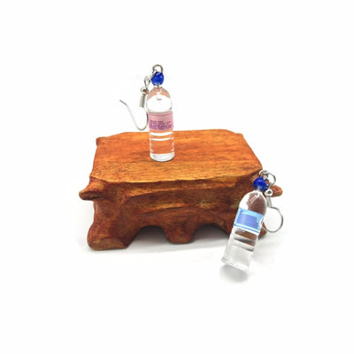 Teenytopia Bottled Water Earrings - Cute french hook earrings with miniature mineral bottles of water made of painted resin attached.