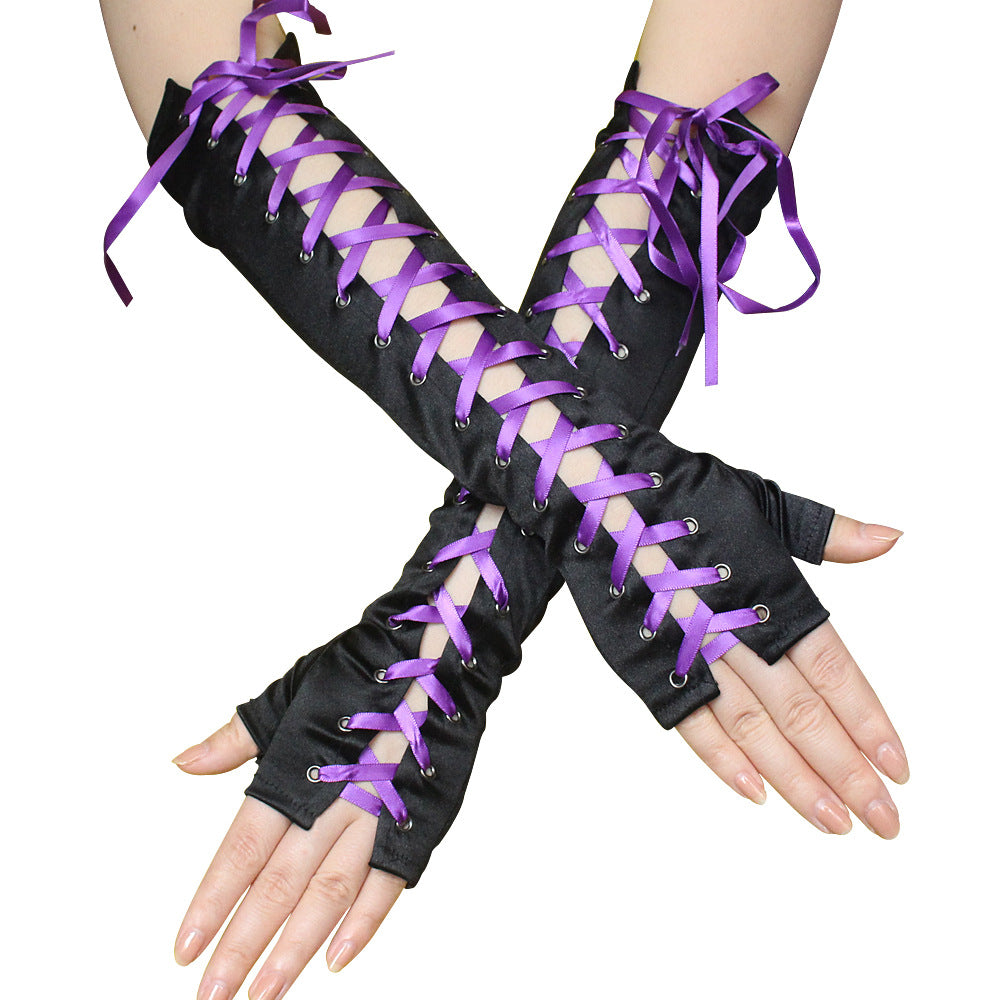 Black Satin Corset Gloves - Cool elbow-length black satin gloves with contrast laces, available in black, purple, or rose pink/red.