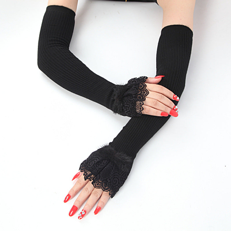 Stretch Knit Arm Warmers With Lace Frill (Opera) - Upper arm length black knit arm warmers with lace around the wrist.