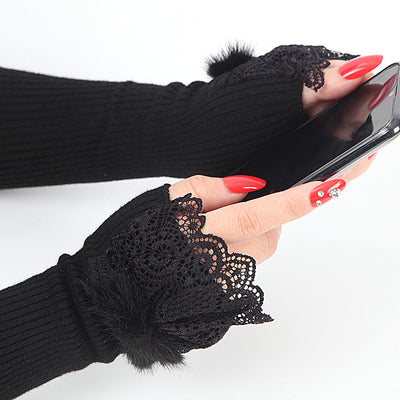 Stretch Knit Arm Warmers With Lace Frill (Opera)