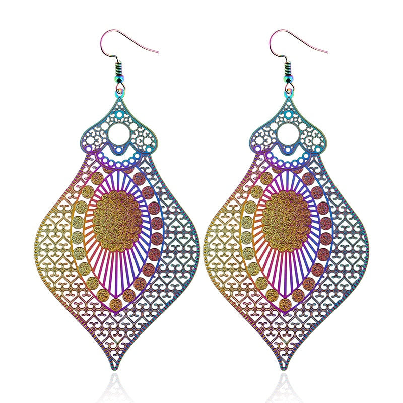 The Dazzle Collection - Kamala - UV treated stainless steel earrings that glow in a rainbow of colours.
