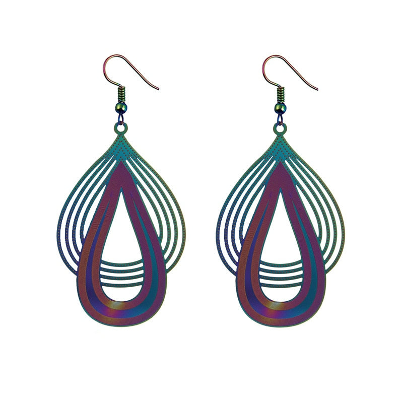 The Dazzle Collection - Hauhet - UV treated stainless steel earrings that glow in a rainbow of colours.