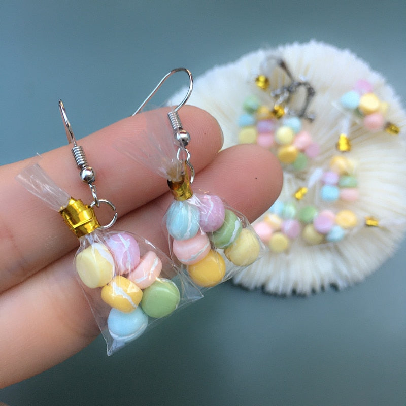Teenytopia Mini Macarons Earrings - Cute earrings featuring a tiny bag of six macarons tied with a twistie tie, and strung on a french hook.