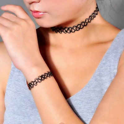 The Retro Essentials - Fishline Tattoo Choker & Bracelet Sets