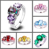 The Fashionista's Ring - A lovely 5-stone silver ring with large crystals in an assortment of lovely colours.