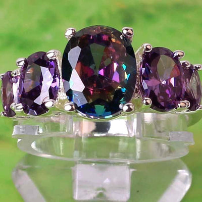 The Fashionista's Ring - A lovely 5-stone silver ring with large crystals in an assortment of colours.