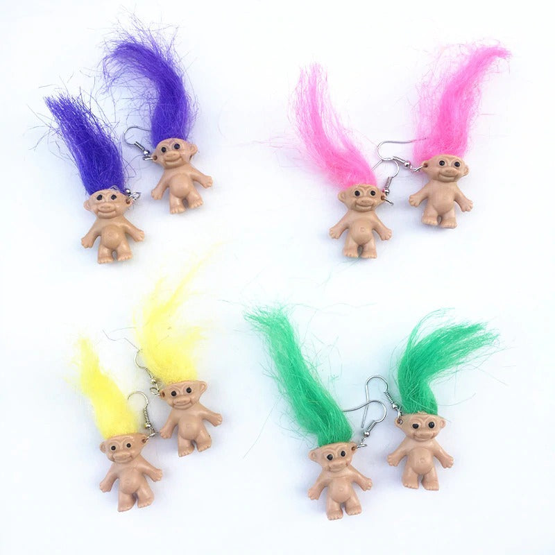 Teenytopia Troll Doll Earrings - French hook earrings adorned with adorable, big-haired troll dolls. So cute!