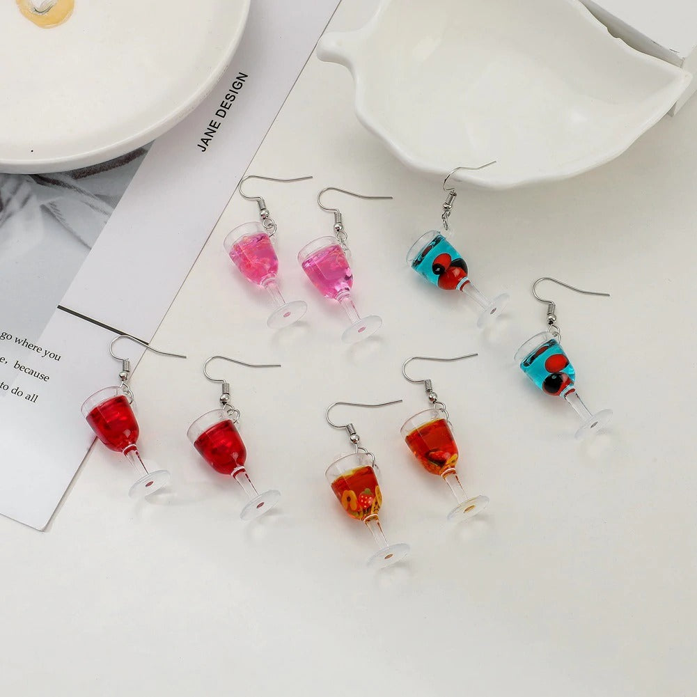 Teenytopia Marvellous Mocktails Earrings - Adorable earrings decorated with charms that look like tiny wineglasses.