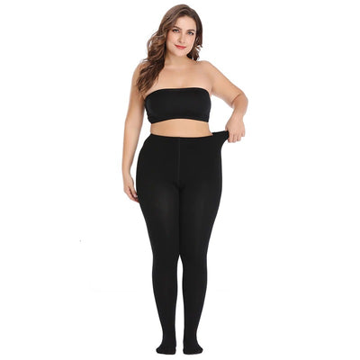 Essentials Queen-Size Winter Tights - Solid black tights for plus size people.