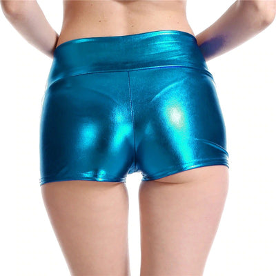 Truly Outrageous Holographic Bootylicious Shorts - A pair of super-short, skin-tight holographic booty shorts made of faux leather, available in nine vibrant colours.