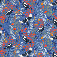 Taking Flight: Magpies on Blue by Amanda Joy Designs