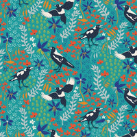 Taking Flight: Magpies on Green by Amanda Joy Designs