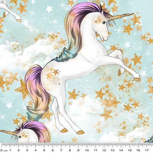 Rainbow Unicorns: Unicorns on Celestial Clouds Blue by Benartex