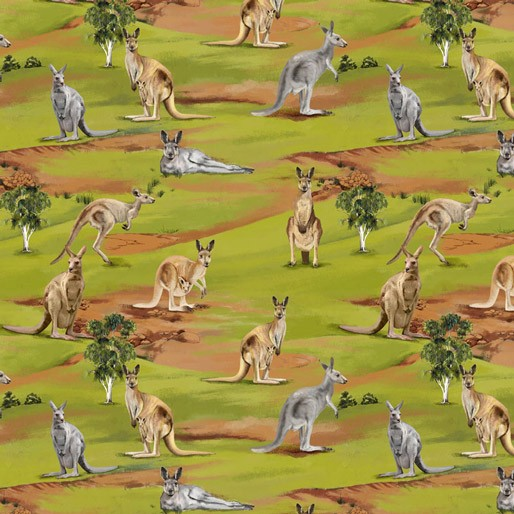 NEW Wildlife Valley Allover Grey & Brown Kangaroos by KK Designs
