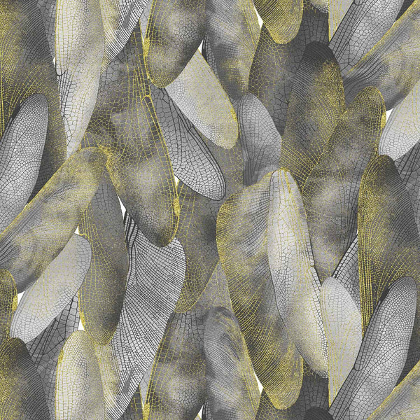 Dance Of The Dragonfly: Gilded Wings Dove Grey by Benartex