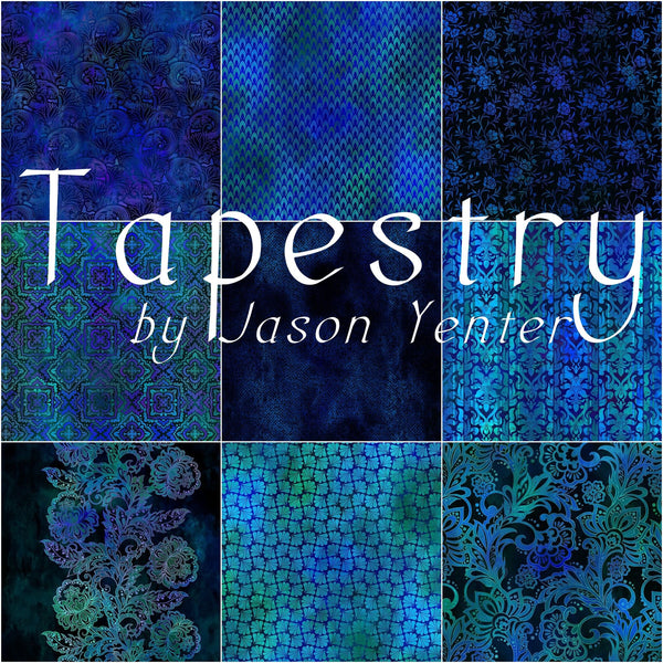 NEW Tapestry Blue 9 x FQ Bundle by Jason Yenter for In The Beginning