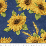 NEW: Accent on Sunflowers: Accent on Sunflower Dance Blue by Jackie Robinson for Benartex