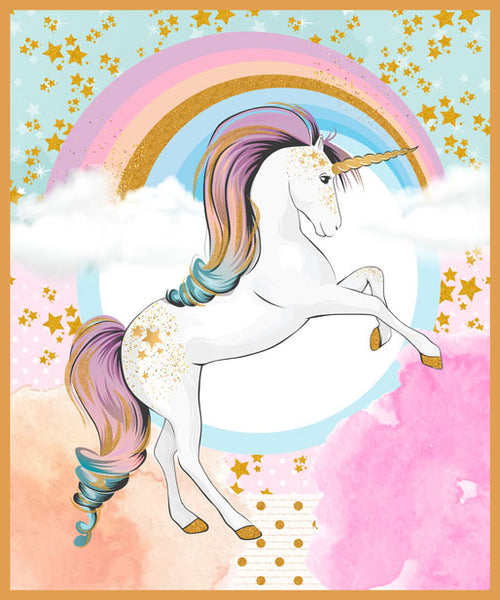 Rainbow Unicorns: Fantastical Unicorn Panel by Benartex
